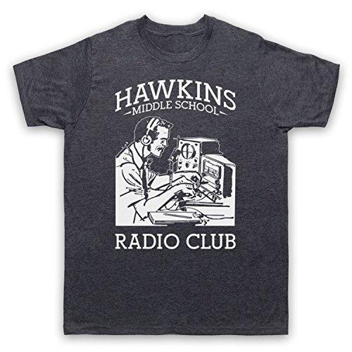 My Icon Art & Clothing Shirtzshop Stranger Hawkins Middle School Radio Club Sci Fi Horror TV - Camiseta para Hombre Pizarra. S/Pecho 86/91 cm