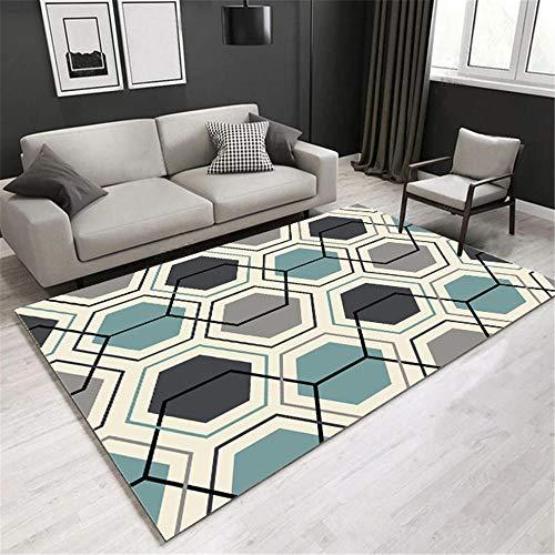 alfombras infantiles lavables Aislamiento acústico de alfombra de diseño de patrón hexagonal regular negro, fácil de limpiar, alfombra de mesa de café antiácaros alfombras recibidor -azul_Los