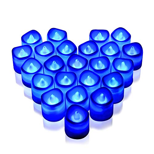 Rakumi Blue LED Candles, Flameless Flickering Blue LED Tea Light Candles, Battery Opearted LED Votive Candles for Wedding Birthday Party Holiday Decor,24 Packs