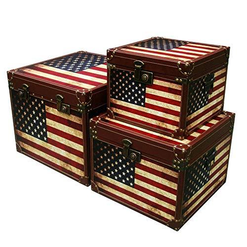 Tronco 3 maletas Piezas de almacenamiento grande de madera caja de la bandera americana retro caja de fotografía apoya Maleta antigua Conjunto Modelo Living Room Decoration Adecuado para el dormitorio