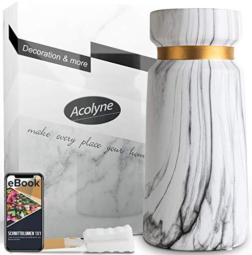 Acolyne® Premium Vase Weiß aus Hochwertigen Keramik [mit Reinigungsschwamm & Ebook] als Moderne Marmor-Optik | Blumenvase Weiß als Marmor Deko | Weiße Vase | Vasen Deko auch geeignet für Pampasgras