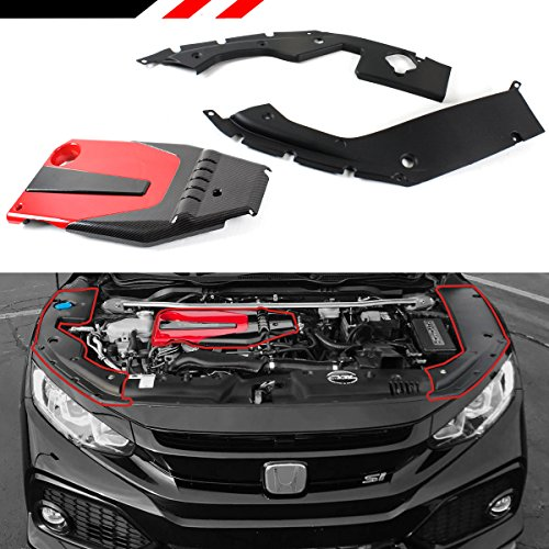 JDM Red Black Type-R Style Engine Valve Cover + Engine Bay Side Panel Covers Compatible with 2016-2020 Honda Civic