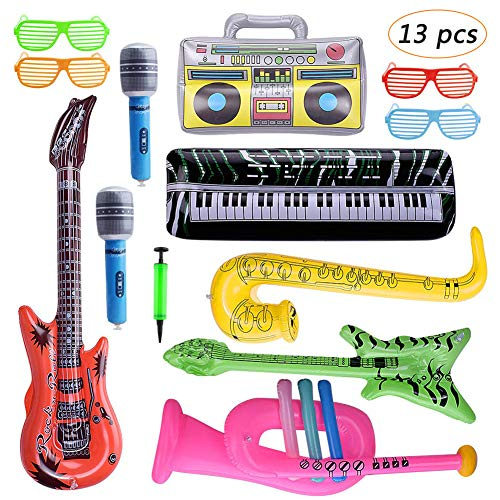 Bebester Instrumentos inflables, 13PCS inflable Rock Star Toy Set Inflable Party Props Inflables Guitarras Saxofón Micrófono Teclado Piano Música Inflable Fiesta Props con Bomba de Globo