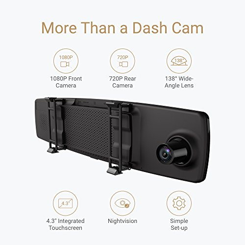 YI Mirror Dash Cam, Dual Dashboard Camera Recorder with Touch Screen, Mobile APP, Front Rear View HD Camera, G Sensor, Reverse Monitor, Loop Recording