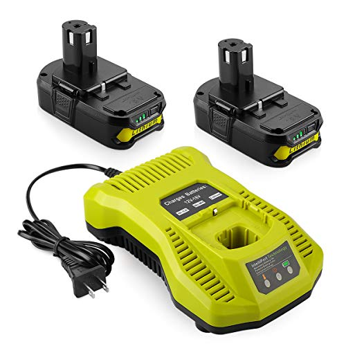 Powilling 2Pack 2500mAh Ryobi 18V Lithium Battery Pack Replacement for Ryobi 18-Volt ONE+ P104 P105 P102 P103 P107 P108 Cordless Tools Battery with Ryobi P117 Replacement Charger