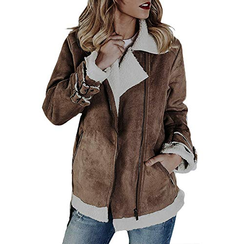 Mantel Kolylong Damen Elegant Wildleder Revers Mantel Herbst Winter Warm Zipper Wolljacke Dicker Fleecejacke Parka Outwear Trenchcoat Bomberjacke Bikerjacke Wintermantel Steppjacke (Khaki, X-Large)