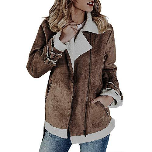 Overdose Chaqueta De Invierno Nueva Faux Suede Warm Jacket Zipper Up Escudo Grueso Superventas Outwear con Bolsillos Ocio Tops Estilo Sexy Blusa Abrigo