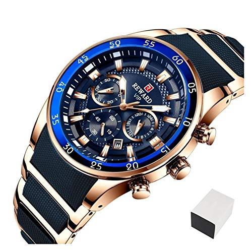 TXOZ Relojes a Prueba de Agua a Prueba de Agua Reloj de Lujo de Cuarzo de Lujo Hombres de Acero Completo Cronógrafo Reloj de Pulsera de Negocios (Color : Gold Blue Box)