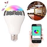Ewtto Smart Bulb Bluetooth RGB Color regulable con control remoto LED bombilla lámpara con altavoz reproductor de música para el hogar y fiesta nocturna, E27 E26