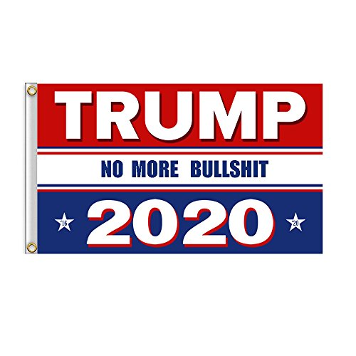 YUIOP Latest Upgrade Trump Flag No More Bullshit Donald Trump Flag for President 2020 Great Flag 3x5 Feet with Brass Grommets UV Anti-Fading Trump Flag for The 45th U.S. President Election