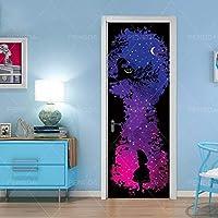 ZWYCEX ドアステッカー 壁画DIYデカールクリエイティブPVC壁紙星空のドアステッカー自己接着抽象ガールピクチャーホームデコレーションガールズルームを印刷 (Sticker Size : 95x215cm)