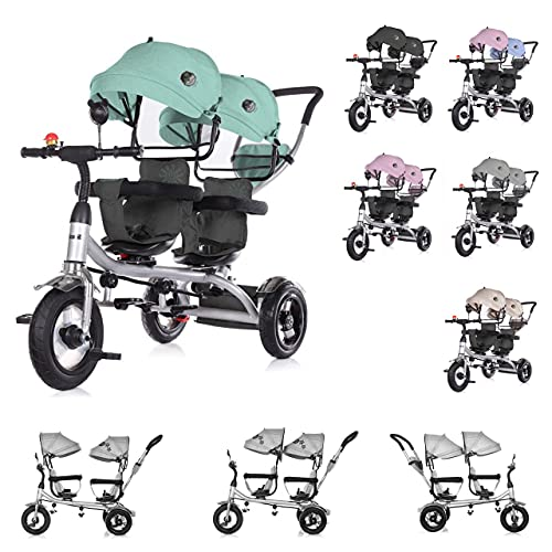 Chipolino Tricycle Dreirad 2Play Zwei Kinder bis 50 kg Luftreifen Lenkstange , Farbe:grün