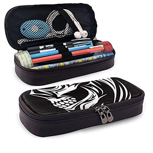 Trousse à crayons multifonction en cuir avec motif tête de mort et symboles de l'anatomie artistique, trousse de papeterie, trousse de rangement portable pour le bureau, trousse de maquillage