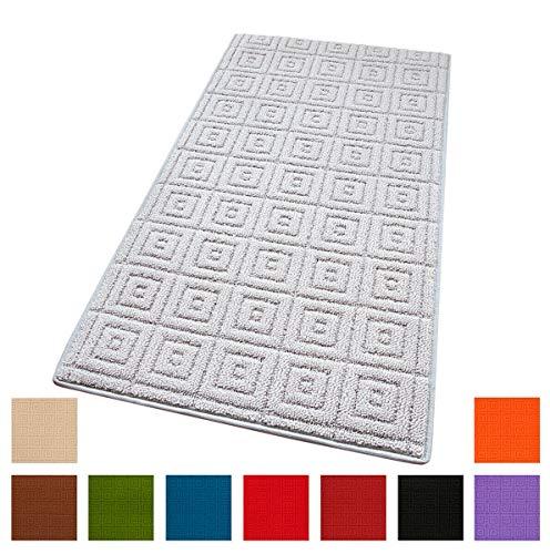 ARREDIAMOINSIEME-nelweb Tappeto Cucina Tinta Unita Multiuso Bordato Tessitura 3D in più Misure E Colori 100% Made in Italy MOD.Evita Arancione (57x190 cm)