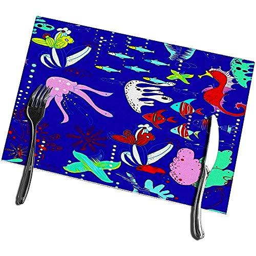 sunnee-shop placemats voor eettafel, set van 4, onderwaterwereld met viskwalen, zeepaardjes, sterren, koraal, waterstraten