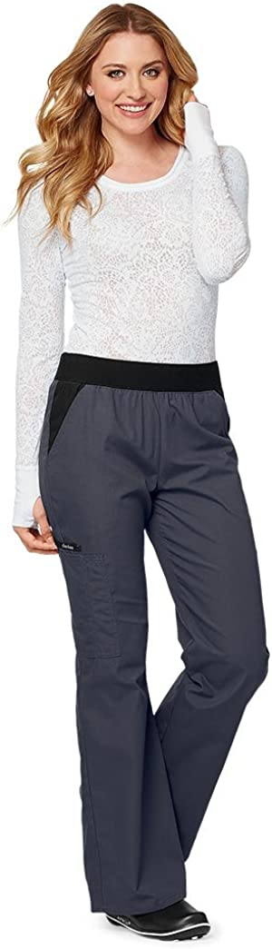 Cherokee Women's Flexibles (Contrast Black) Mid Rise Knit Waist Pull-on Pant