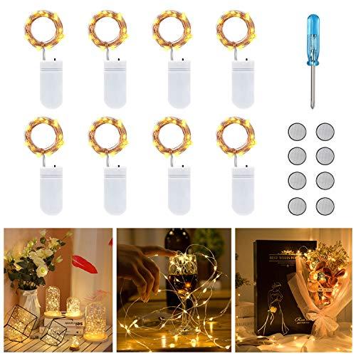 Vicloon Cadena de Luces con Pilas, 8 Piezas Alambre de Cobre Guirnaldas Luces 2M 20 LEDs, IP65 Impermeable Guirnaldas Luces para Decoración Interior, Boda, Fiesta de Navidad, Blanco Cálido