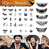 Tatuajes Temporales Halloween-20 Hojas Pegatinas de Tatuajes Infantiles para Cosplay Maquillaje y Disfraz-Decoraciones Luminosas de Terror para Cara-Kit de Tatuajes de Zombies para Hombres y Mujeres