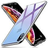 ESR iPhone Xs / X ケース ガラス背面 TPUバンパー 5.8インチ ネイキッド(紫・青)