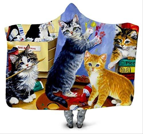 Galactische Pegasus capuchon deken, 3D bedrukte pluche capuchon dekens, voor volwassenen kinderen warm draagbaar fleece gooien deken huis kantoor mantel