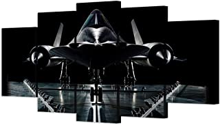 VVOVV Wall Decor - 5 piece Vintage Airplane Wall Art Painting Giclee Prints Military Reconnaissance Aircraft Pictures Moden Black Plane Model Poster Wall Paintings For Living Room Contemporary Artwork