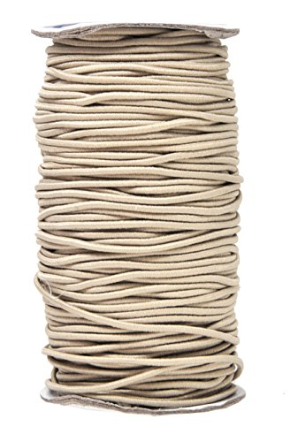 Mandala Crafts Elastic Cord Stretchy String for Bracelets, Necklaces, Jewelry Making, Beading, Masks (Beige, 2mm 76 Yards)