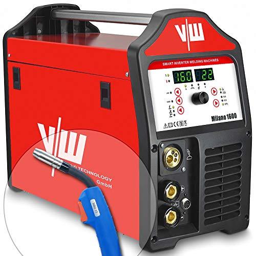MIG MAG Schweißgerät mit 160 Amp - Elektroden Schweissgerät mit 140 Ampere Schweißstrom - 2 und 4 Takt - Jobspeicher - Auto-Einstellung für versch. Drahtstärken - Milano 1600 von Vector Welding