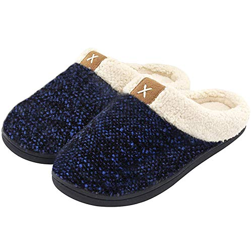 ULTRAIDEAS Men's Cozy Memory Foam Slippers with Fuzzy Plush Wool-Like Lining, Slip on Clog House Shoes with Indoor Outdoor Anti-Skid Rubber Sole(Royal Blue,9-10)