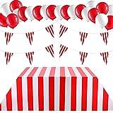 Decoraciones de Fiesta Temática de Carnaval Incluye Mantel de Plástico Desechable de Carnaval Bandera del Banderín de Rayas Rojas y Blancas Banderín de Carnaval Globos de Látex de Carnaval