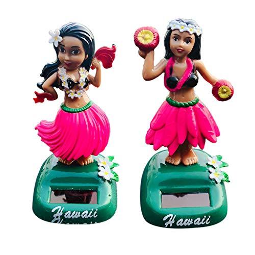 non-brand 2 Unids Juguete de Energía Solar Modelo de Muñeca de Chicas Hawaianas Bailarinas Obra de Arte Adorno para Casa Automóvil Mesa