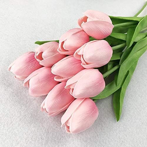 SuperglockT Tulipanes Flores Artificiales de látex Real Touch, Tulipanes Artificiales como Ramo de Novia Real, Bouquets para Bodas, Fiestas, jardín, Hotel, Habitaciones, decoración, Rosa, 5 Unidades