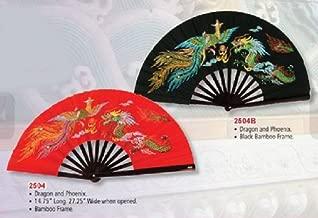 Bamboo Kung Fu Fighting Fan Dragon And Phoenix (Black)