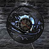 KEC Reloj de Pared artístico de Pared de Motociclista de montaña, Reloj de Pared con Disco de Vinilo Vintage, Bicicleta de montaña, Regalos Divertidos para Ciclistas