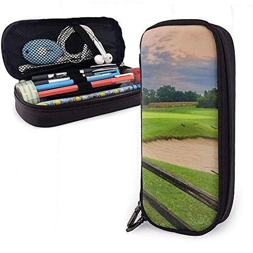 Sunset Golf Course PU Estuche para lápices de cuero, Bolso para bolígrafo, Organizadores de papelería duraderos con doble cremallera 20 * 9 * 4 cm (8X3.5X1.5 pulgadas)