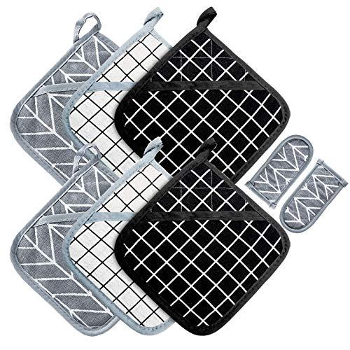Win Change Juego de 6 agarraderas resistentes al calor, con 2 soportes para ollas de cocina para cocinar y hornear, con forro de algodón reciclado (BlackGreyWhite, 6+2)