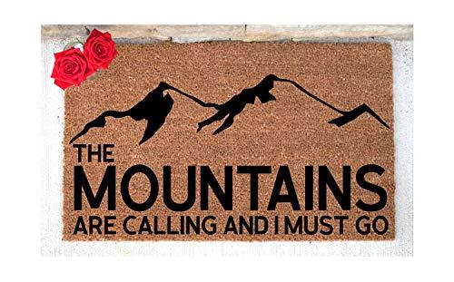 Yor242len de bergen bellen en ik moet gaan deurmat welkom mat aangepaste deurmat gepersonaliseerd deurmat Woodland Decor nieuw huis cadeau