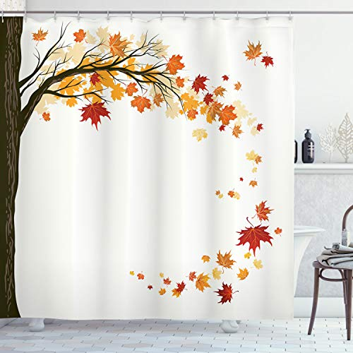 """Ambesonne Fall Shower Curtain, Leaf Group Motion in Mother Earth Transition from Summer to Winter Season Theme, Cloth Fabric Bathroom Decor Set with Hooks, 70"""" Long, Brown Orange"""