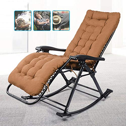 YFF-Chaises longues Brown Patio Rocking Zero Gravity Chair Outdoor Recliner Portable Lounge Chair Folding with Paded for Camping Fishing Beach Poolside Max.Support 250kg