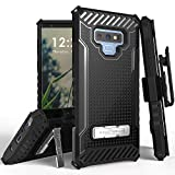 Beyond Cell Trishield Series Compatible With Note9 Case, Military Grade Rugged Cover with [Metal Kickstand], [Belt Clip Holster] Compatible With Samsung Galaxy Note 9 (2018) - Black
