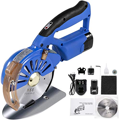 VEVOR Fabric Cutter 125mm Rotary Fabric Cutter 39mm Cutting Height Wireless Electric Rotary Cutter All-Copper Motor with Low Noise Adjustable Speed Electric Scissors for Cutting Fabric and Cotton