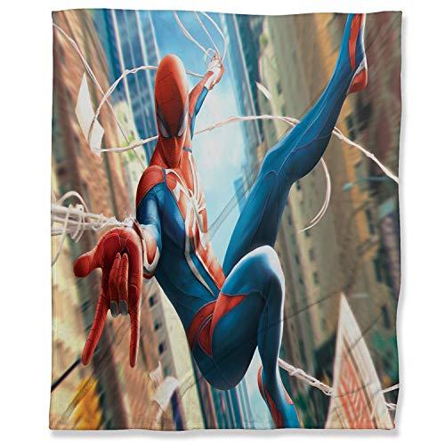 ARYAGO Manta de microfibra de lujo de 180 x 230 cm, manta de franela de Spiderman Fuzzy para todas las estaciones, ligera, diseño de Spiderman
