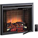 PuraFlame Klaus Electric Fireplace Insert with Fire Crackling Sound, Glass Door and Mesh Screen, 750/1500W, Black, 26 Inches Wide, 23 3/16 Inches High