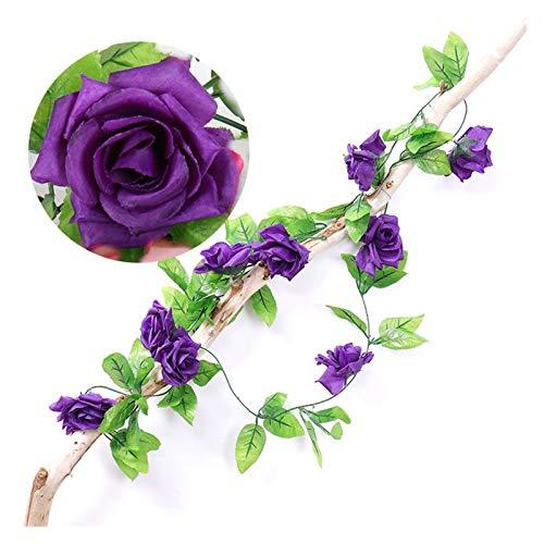 Hjdmcwd Künstliche Blumen 235cm Seide Rosen Efeu Blume Reben Künstliche Blumen Grün Girlande Für Home Hochzeit Garten Dekoration Hängen Rattan Wand Dekor (Farbe : D.Purple, Größe : Length is 235cm)