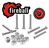 Fireball Dragon Stainless Steel Skateboard Hardware Set (Flat Phillips, 1.0')