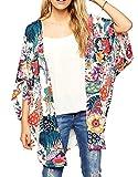 Women Summer Beach Coat Chiffon Loose Printed Casual Blouse Top Kimono Cardigan Coat Size S