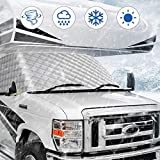 BougeRV RV Windshield Window Snow Cover for Class C Ford 1997-2020 Motorhome Windshield Cover Snow Cover for RV Front Window Sunshade Cover RV Accessories 4 Layers with Mirror Cutouts Silver