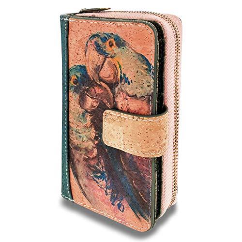 MenKai Portafoglio da donna in sughero Blocco RFID Portafogli medi per donna con tasca con zip Portafoglio di sicurezza con scomparti multipli per donna con fessure per carte,1617191