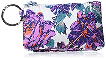 Vera Bradley Signature Cotton Deluxe Zip ID Case Wallet with RFID Protection Petite Neon Blooms
