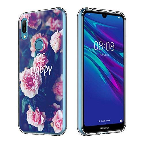 Yoedge Cover Huawei Y6 2019, Sottile Antiurto Custodia Trasparente con Disegni Ultra Slim Protective Case 360 Bumper in TPU Silicone per Huawei Y6 2019 Smartphone (Fiori Rosa)