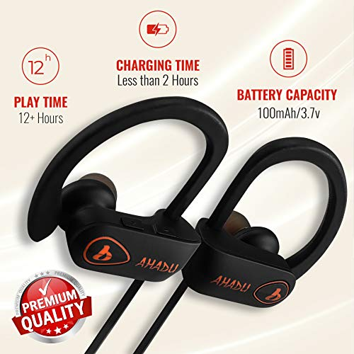 AHADU Bluetooth Headphones, AHBT-101, Best Wireless Sport Workout Earphones w/Microphone 12+ Hrs Battery Life IPX7 Water/Sweat Proof Secure Fit Light Weight Stereo Sound Earbuds w/Noise Cancelling